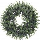 Großhandel Kunstblumen: Eukalyptus Kranz Calida, D42cm, hellgrün bemehlt
